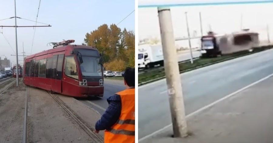 В Казани трамвай с людьми потерял управление и мчался, снося грузовики