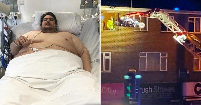 Самого тяжелого жителя Великобритании отправили в больницу с помощью подъемного крана