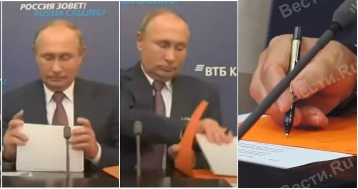 Тайна папки раскрыта: по ТВ объяснили, что Путин делал на совещании