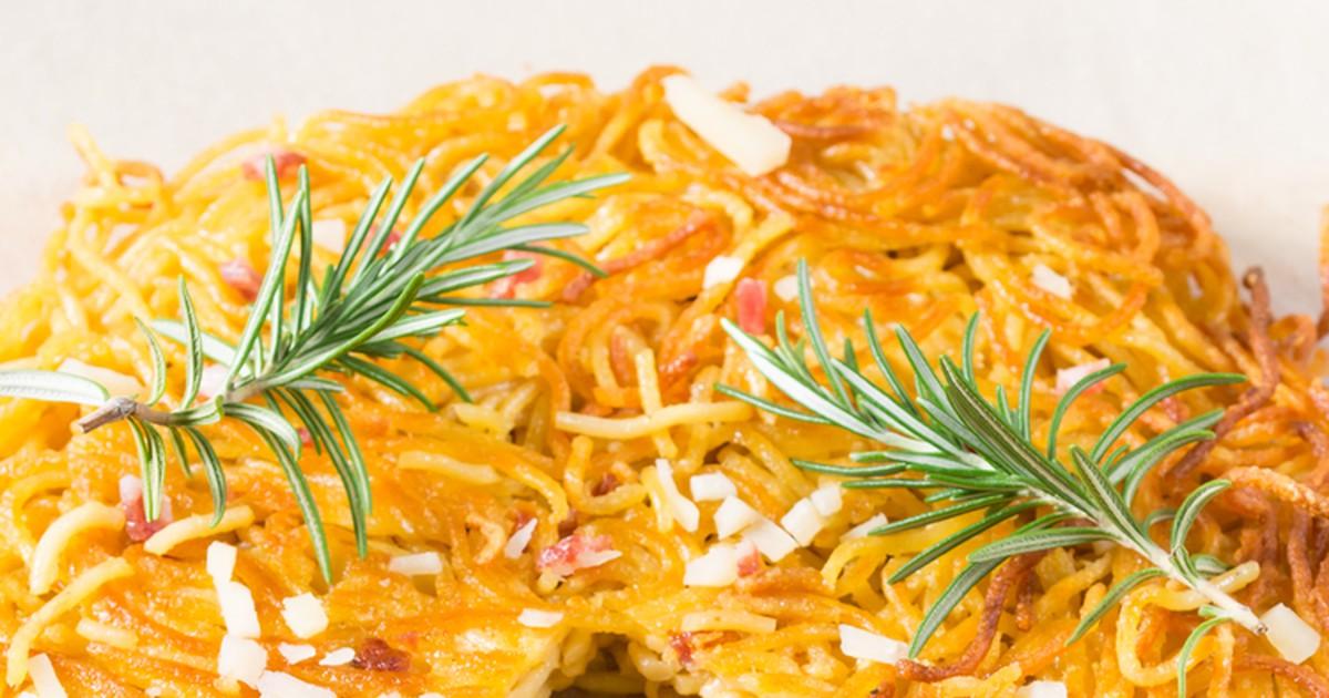 Фото Вкусная запеченная пицца-спагетти