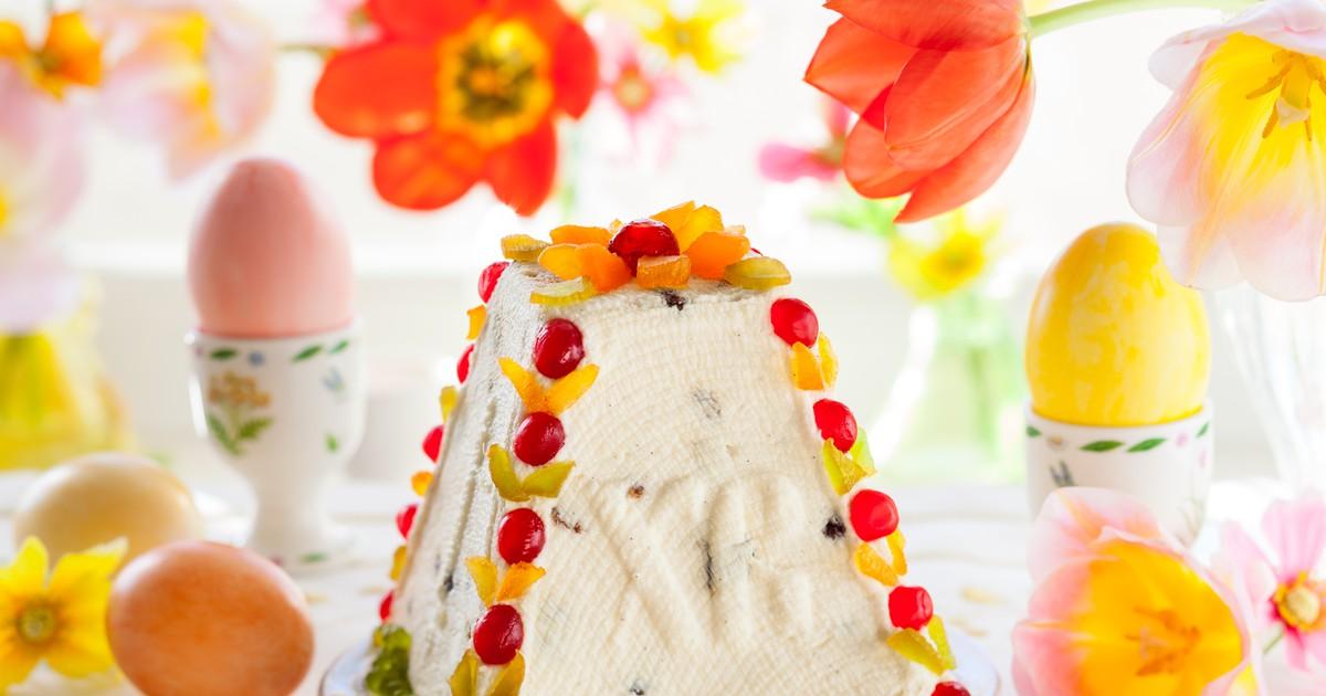 Фото Карамельная творожная пасха без выпечки и яиц