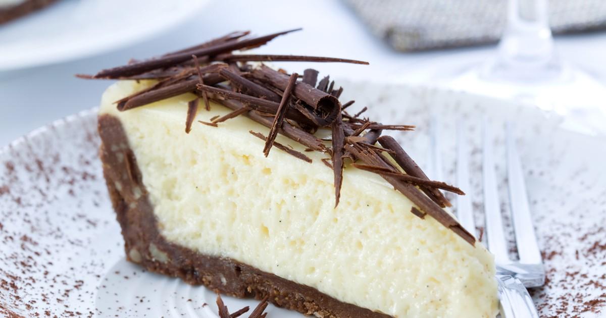 Фото Ванильный творожник на шоколадном тесте