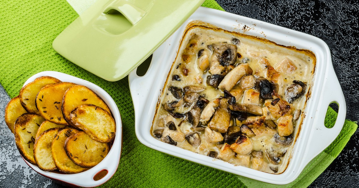 Фото Куриное филе с грибами и сливками