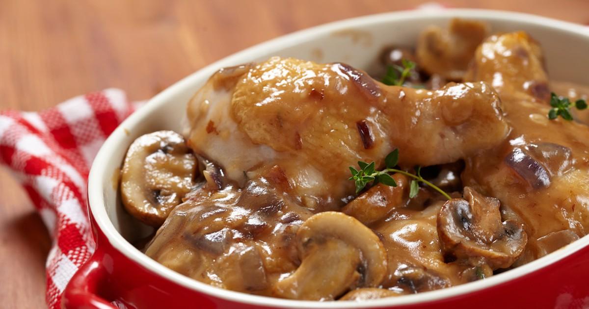 Фото Запеченные куриные ножки с грибами