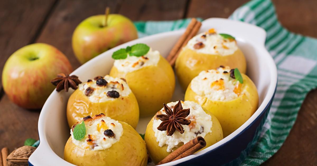 Фото Печеные яблоки с творогом