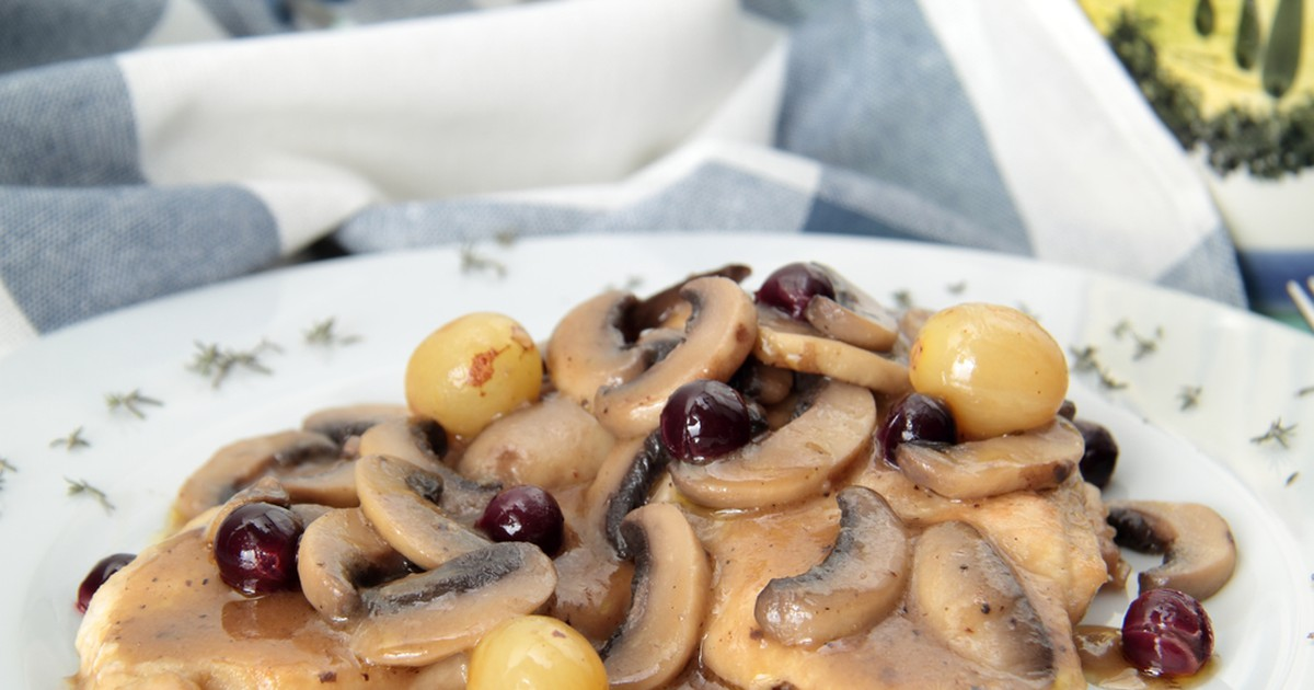 Фото Свиные стейки с грибами и виноградом