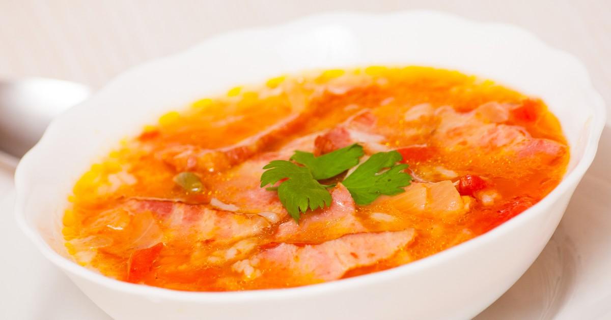Фото Овощной суп с ветчиной и рисом