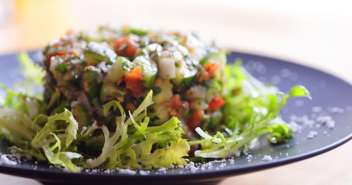 Фото Салат с фасолью и овощами