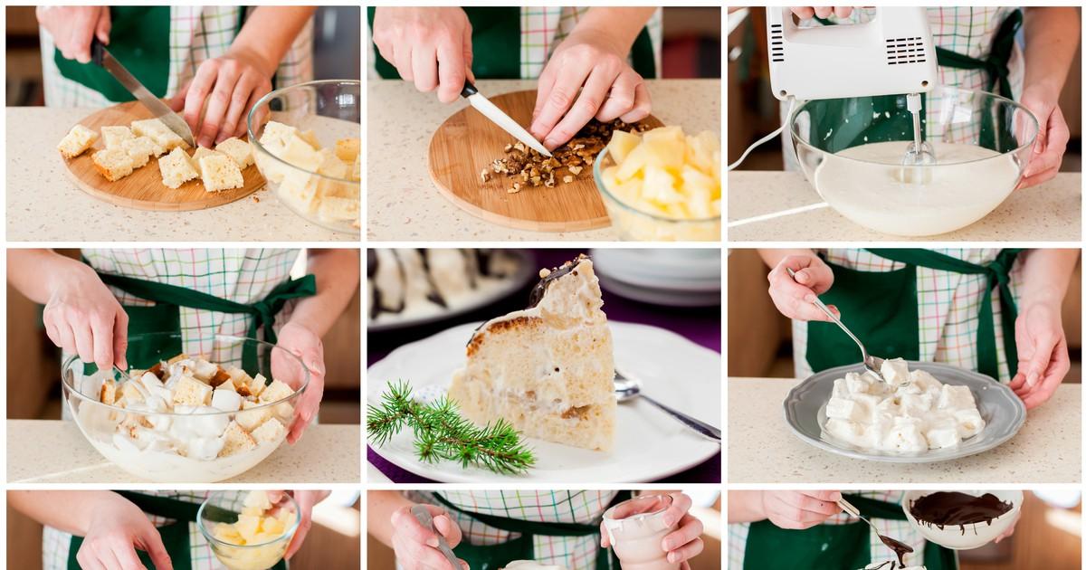 """Фото Торт """"Панчо"""" с ананасами и грецкими орехами"""