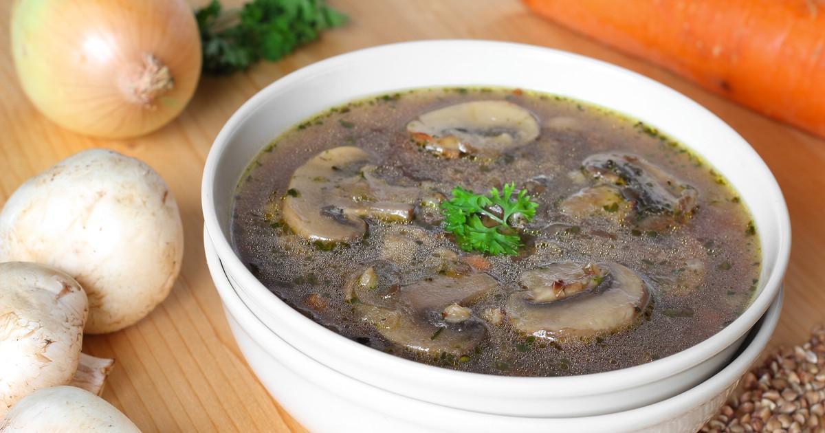 Фото Постный суп с гречкой и грибами