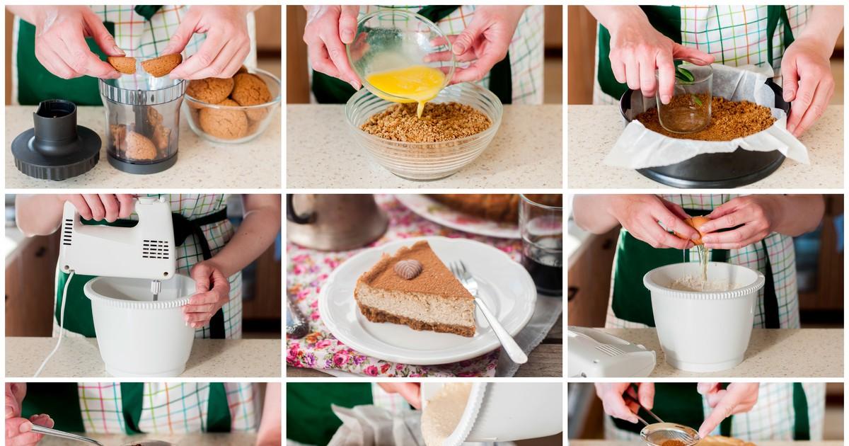 Фото Творожно-кофейный чизкейк с овсяным печеньем