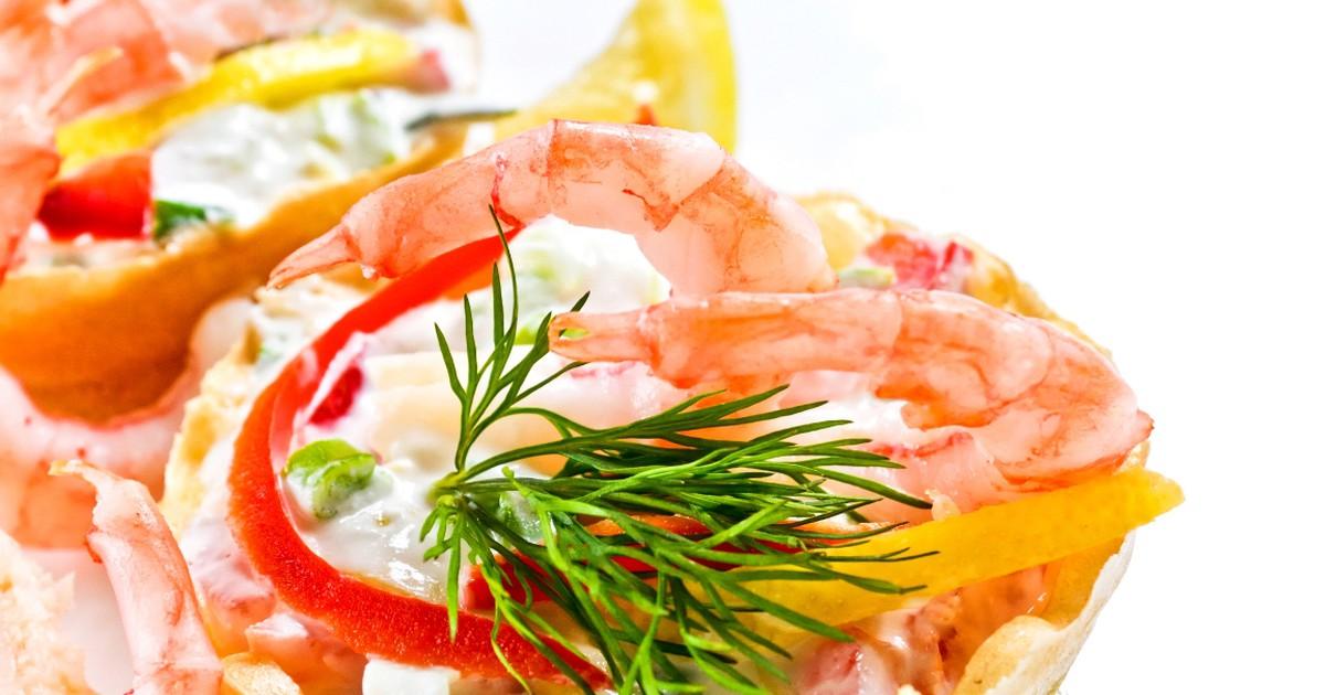 Фото Праздничные тарталетки с креветками