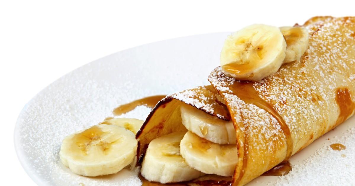 Фото Блины с бананом и сиропом