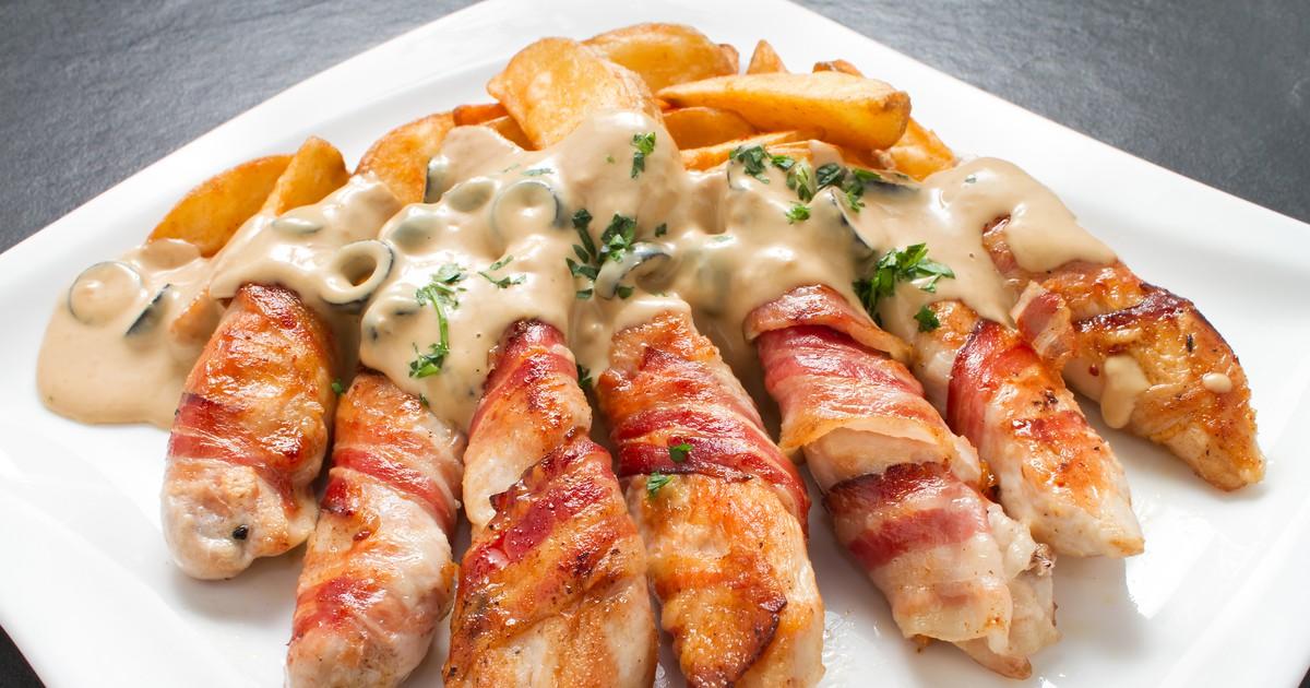 Фото Куриное филе в беконе и медово-горчичном соусе – очень вкусная закуска!