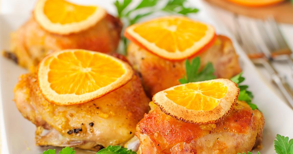 Фото Запеченные куриные бёдра с апельсинами