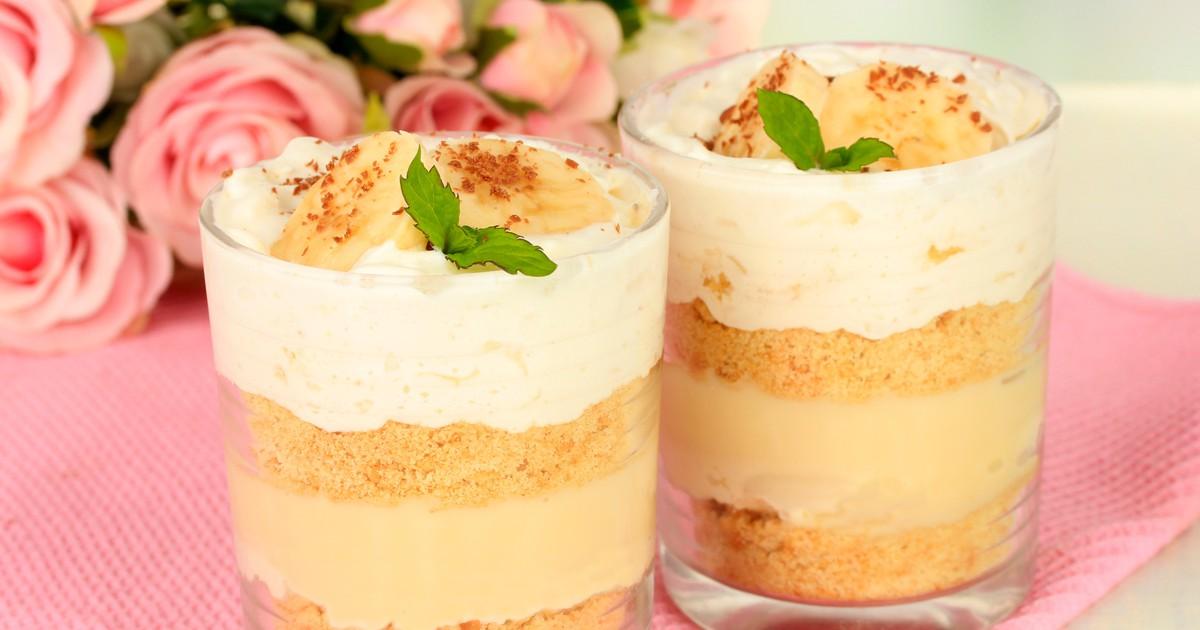 Фото Сливочно-кремовый десерт с бананом