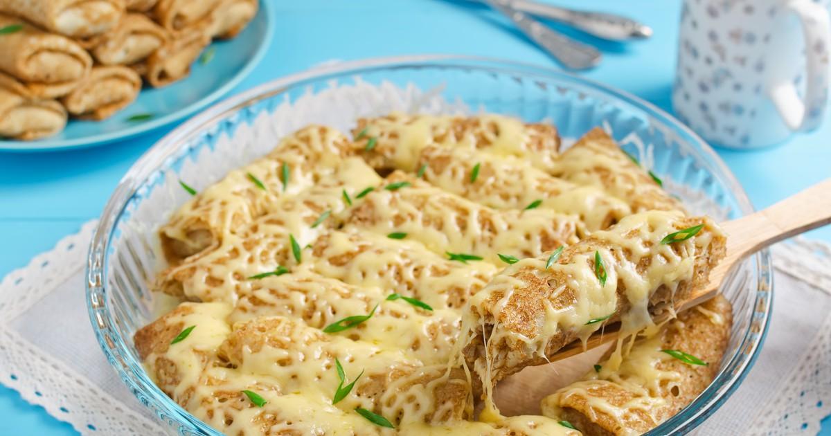 Фото Запеченные блины с грибами и сыром на Прощёный обед