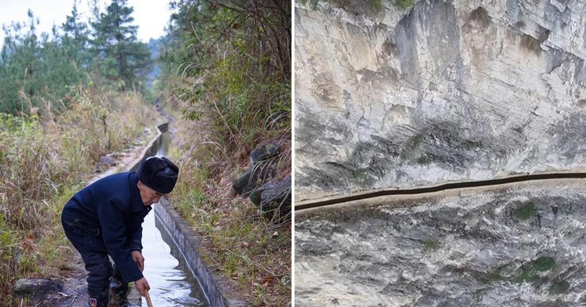 Фото Житель Китая 36 лет рыл канал, чтобы обеспечить водой его деревню