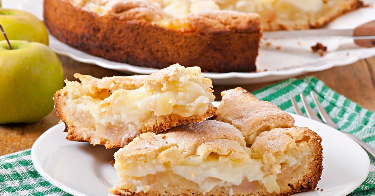 Фото Пирог с яблоками и заварным кремом