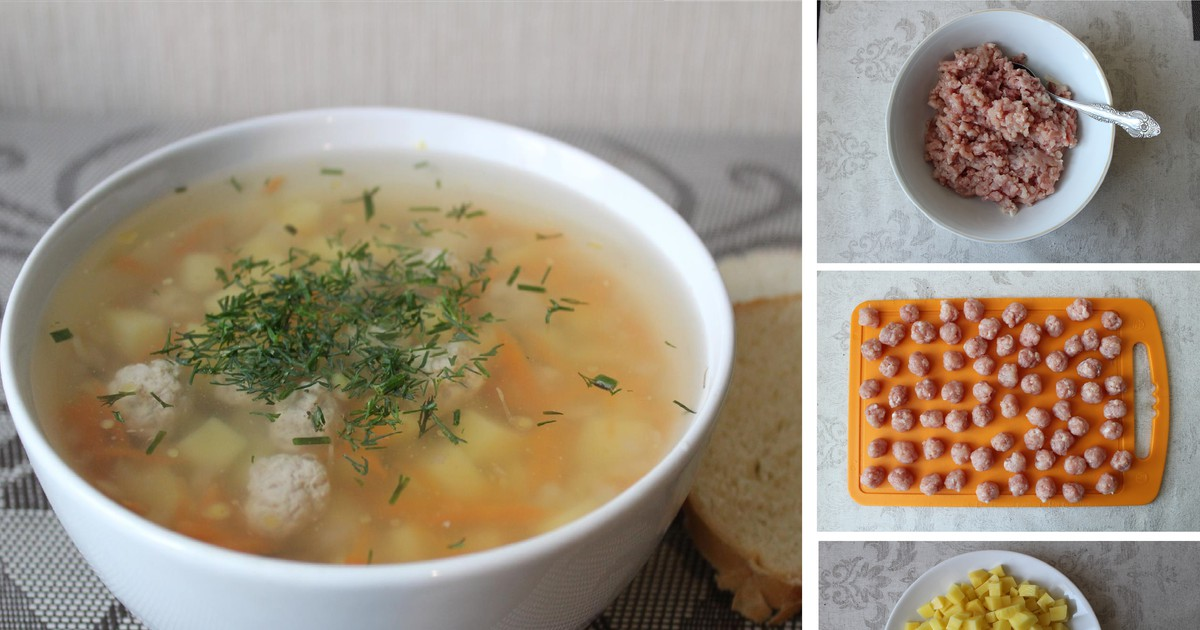 Фото Пошаговый фото-рецепт: Картофельный суп с фрикадельками