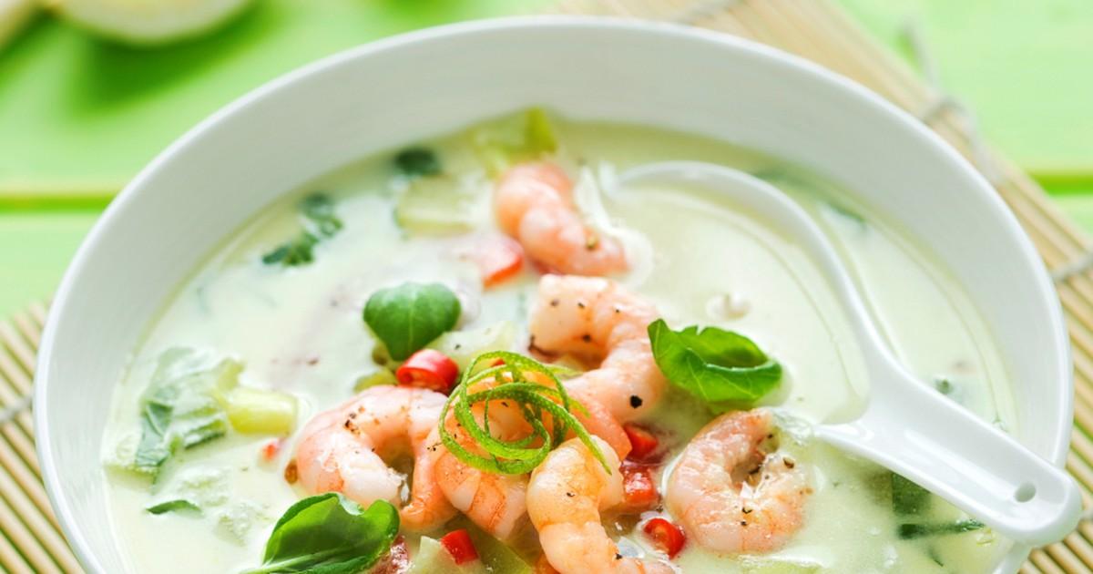 Фото Аппетитный сырный суп с креветками