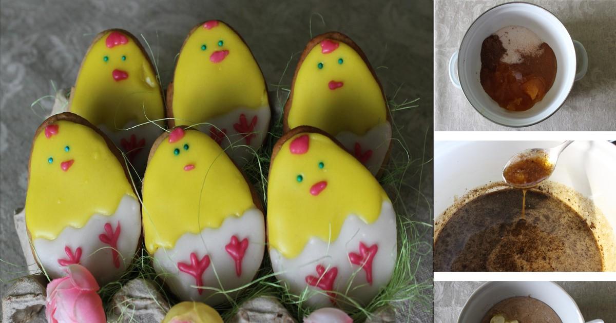 Фото Пасхальные имбирные пряники с рисунком: пошаговый фото рецепт