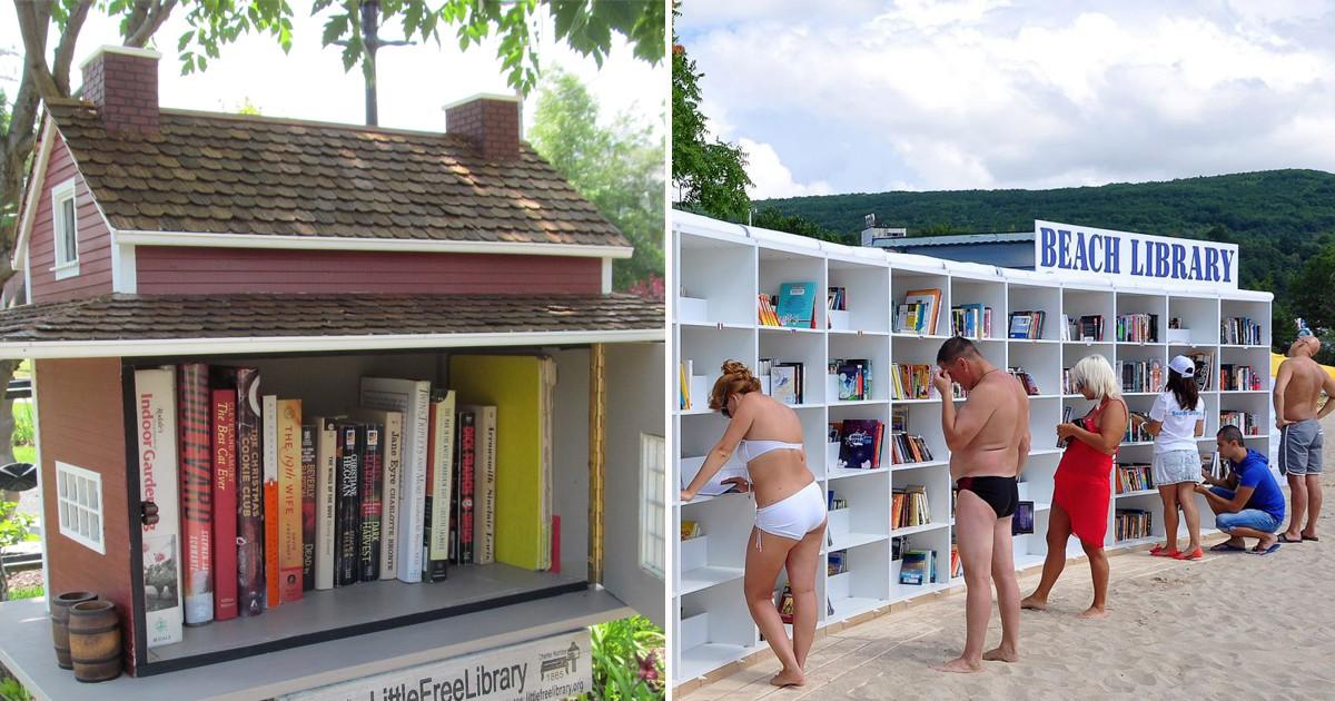 Фото Книголюб: необычные альтернативные библиотеки отовсюду