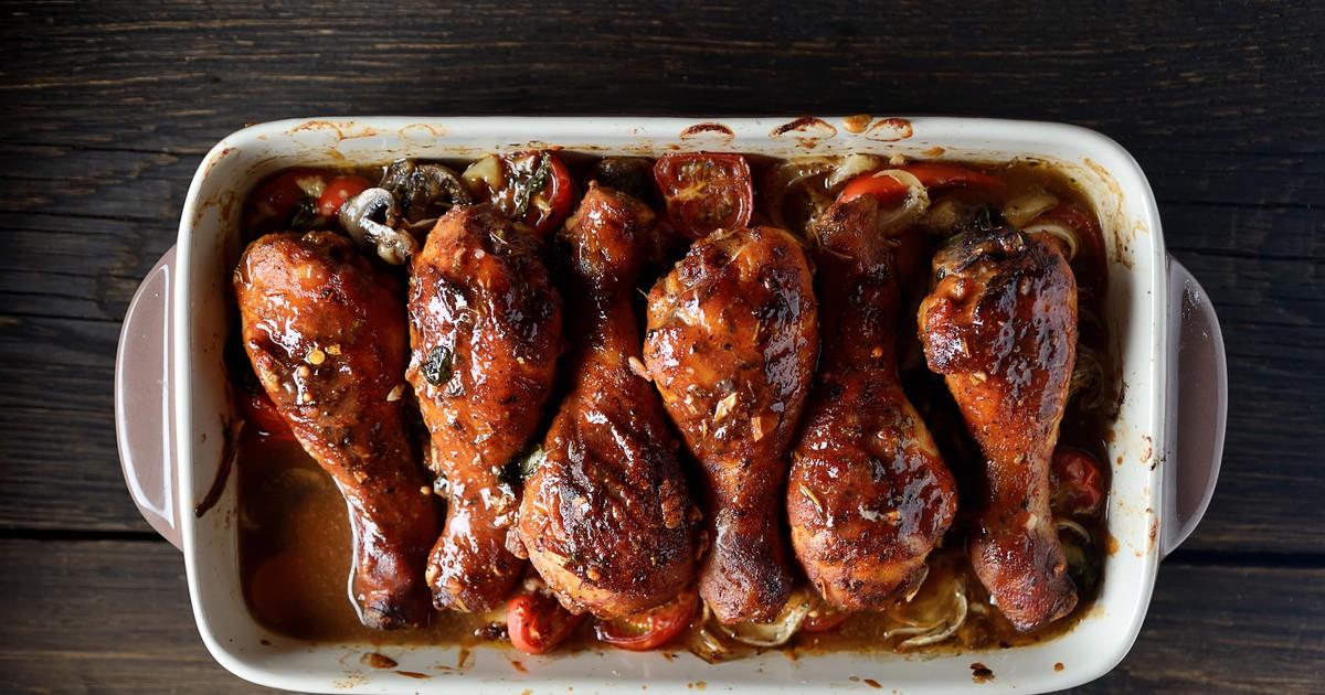 Фото Запеченные куриные ножки в глянцевом соусе