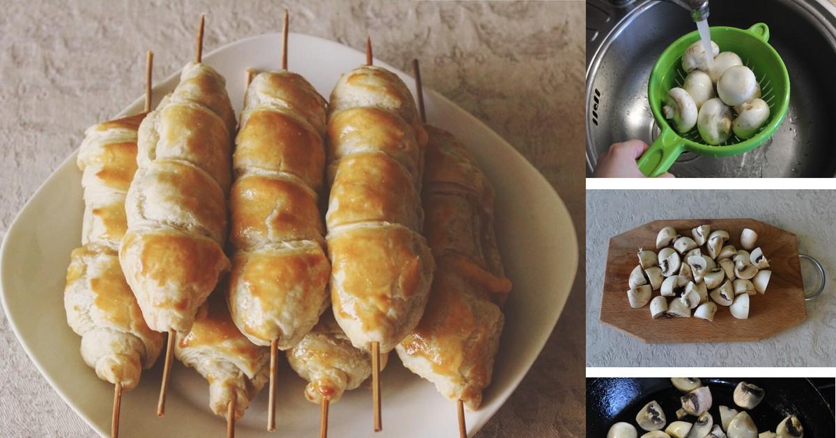 Фото Пошаговый фото-рецепт: Закуска на шпажках с сыром и шампиньонами