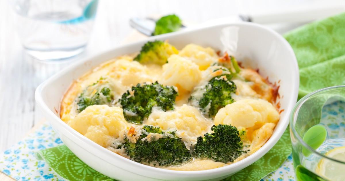 Фото Аппетитная запеканка из цветной капусты и брокколи