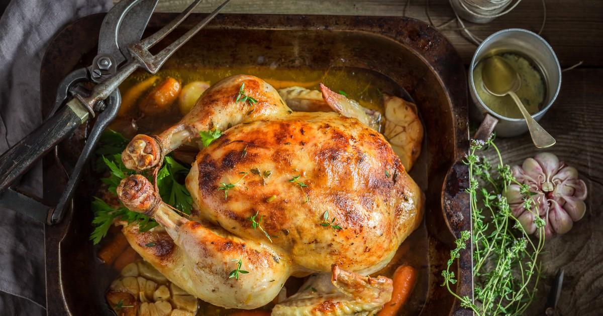 Фото Запеченная курица с овощами и травами