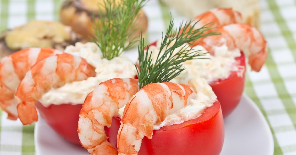 Фото Фаршированные помидоры с креветками