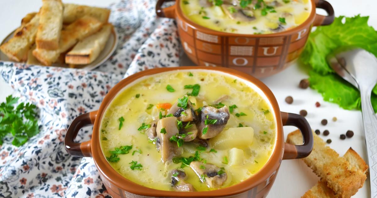 Фото Сырный суп с грибами