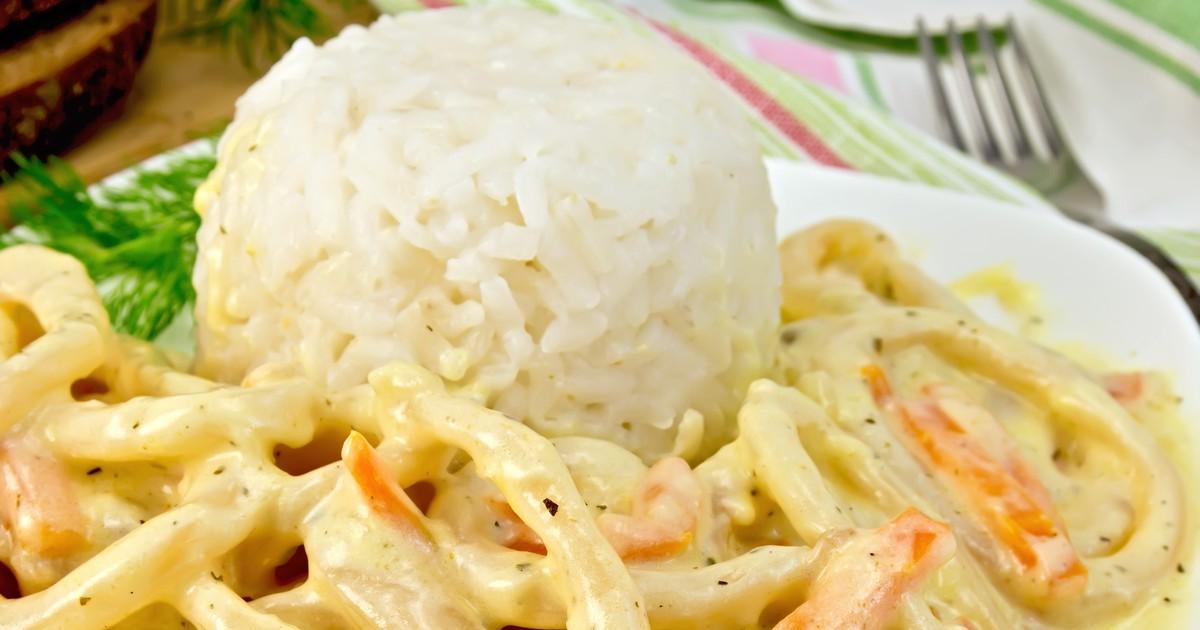 Фото Кальмары в сметанном соусе