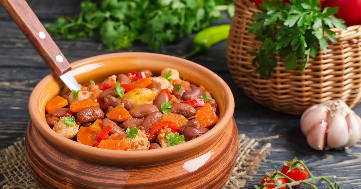 Фото Овощное рагу с фасолью и свининой