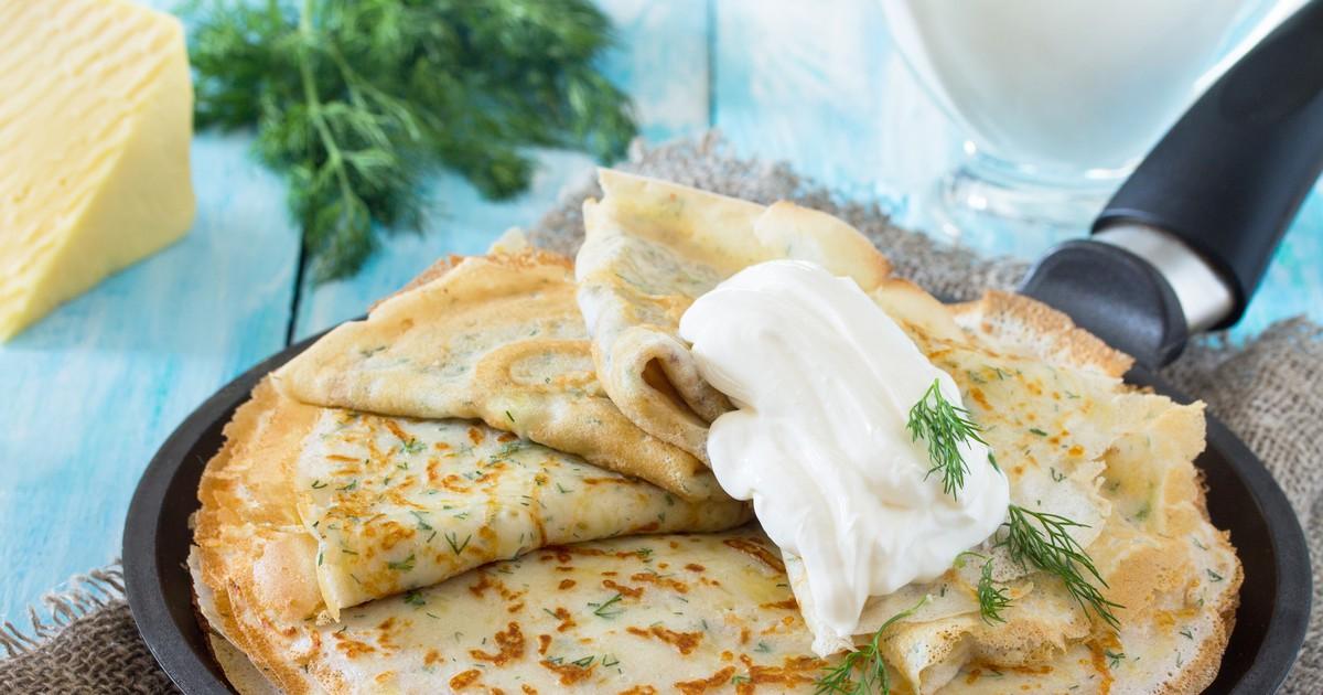 Фото Блины с сыром и зеленью – объедение!