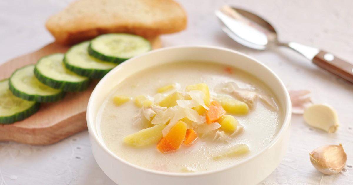 Фото Домашний сырный суп с курицей