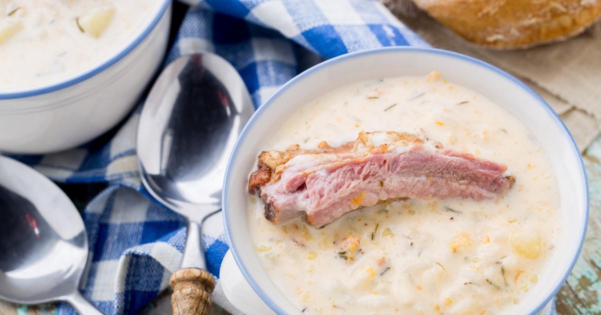 Фото Сырный суп с копчёными рёбрышками