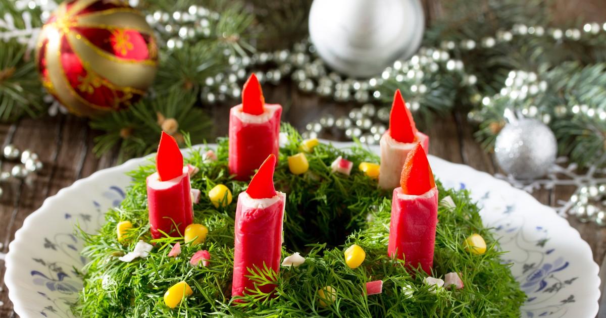 """Фото Салат """"Новогодние свечи"""""""