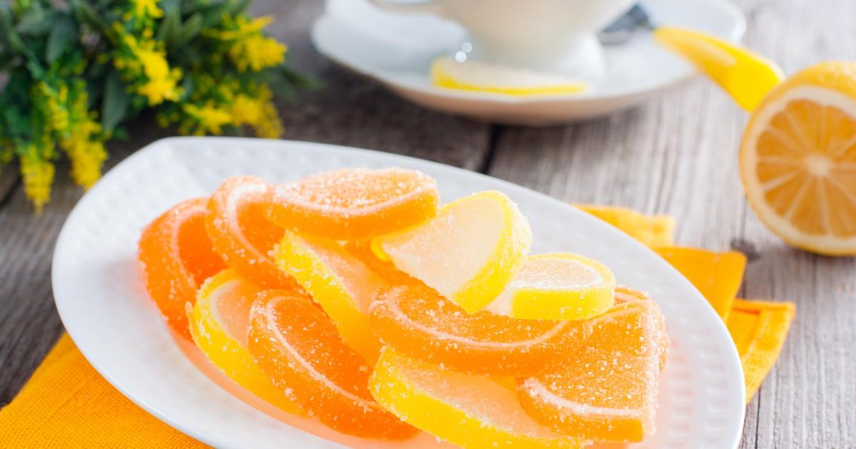 Фото Апельсиновые и лимонные желейные дольки