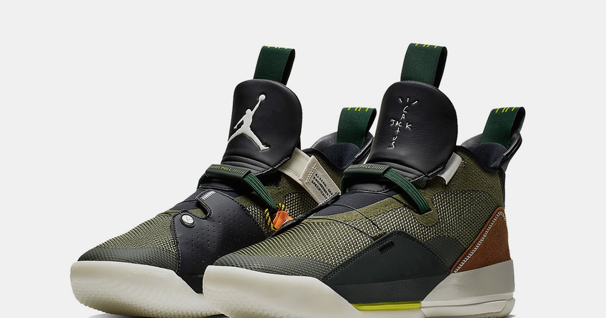 """Photo of Here's an Official Look at Travis Scott's Air Jordan 33 """"Army Olive"""""""