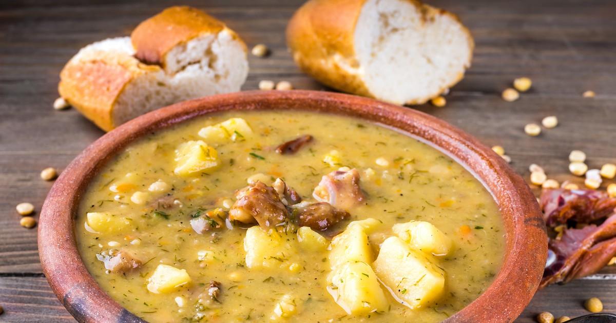 Фото Гороховый суп с копчёной курицей