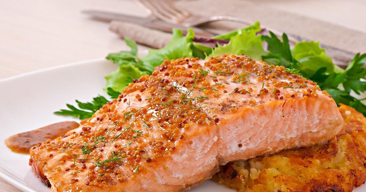 Фото Запеченная красная рыба в медово-горчичном соусе