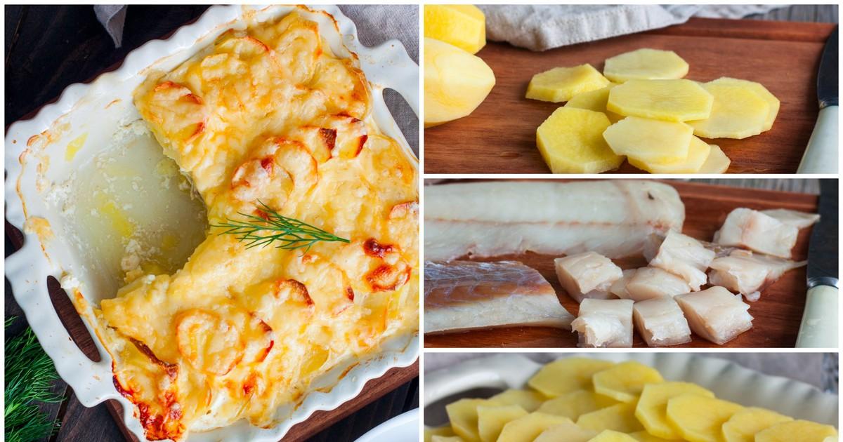 Фото Картофельный гратен с рыбой