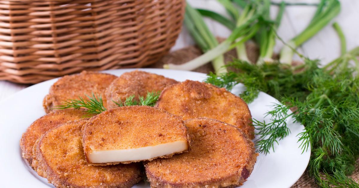 Фото Жареный колбасный сыр в панировке
