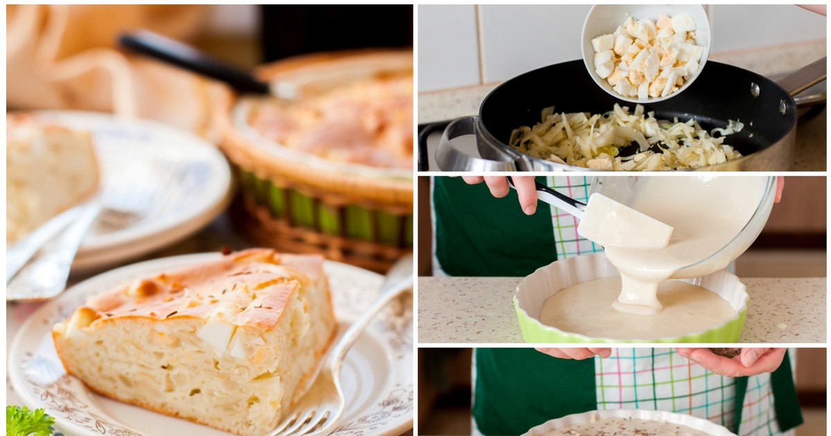 Фото Заливной пирог с капустой: пошаговый фото рецепт