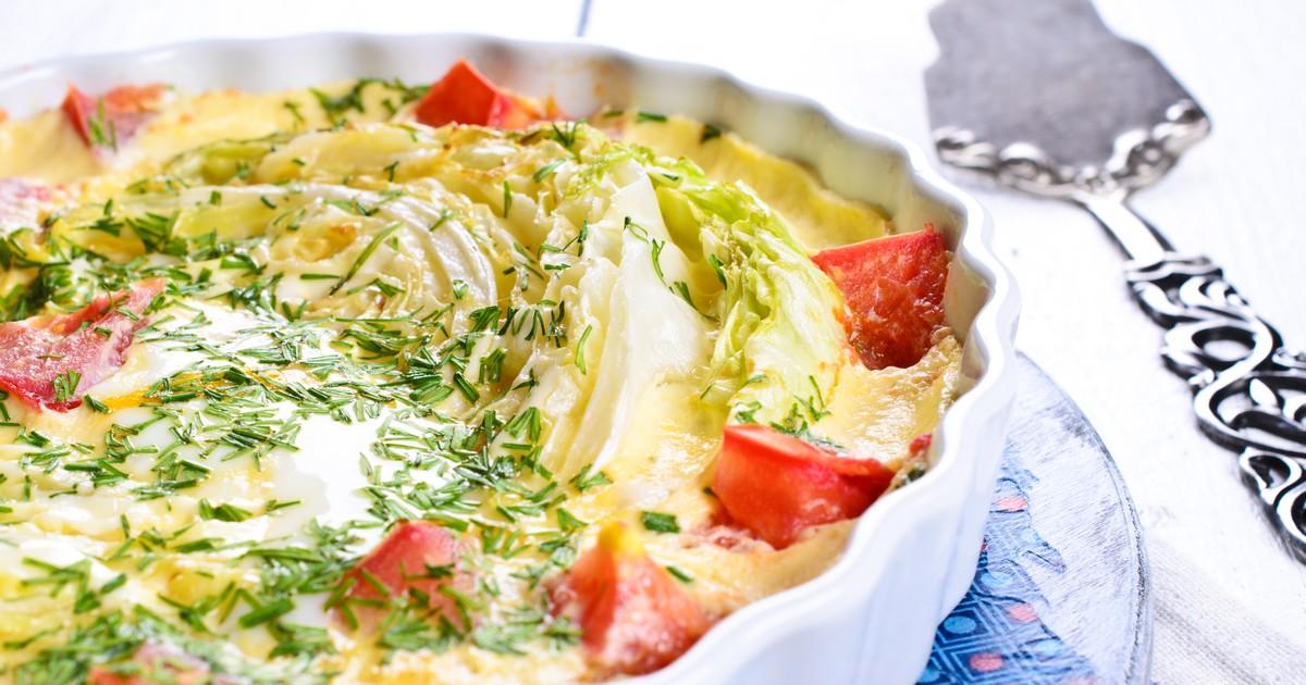 Фото Запеканка из капусты с помидорами
