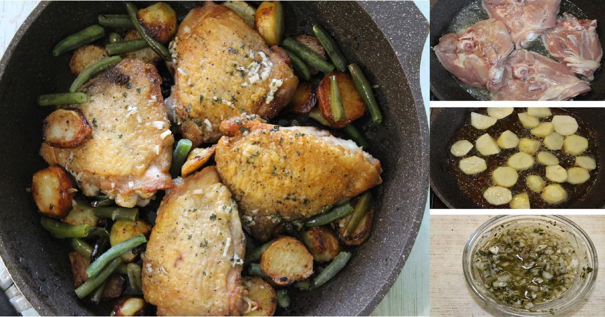 Фото Куриные бедра с молодым картофелем, горошком и стручковой фасолью: пошаговый фото рецепт