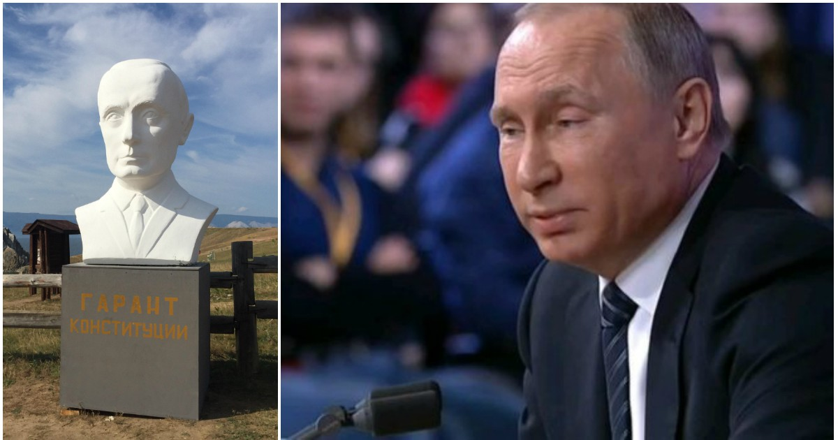 Фото Жители Байкала установили бюст Путина, чтобы он им помог