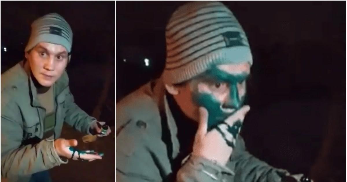 Фото Таксисты заставили пассажира умыть лицо зеленкой и сняли на видео